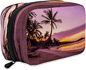 OcuteO Cosmetic Travel Bag Purple Sunrise Beautiful Tropical Beach Sea Ocean With Coconut Palm Tree Small Makeup Case Organizer Cosmetic Pouch Portable Toiletry Bag Pencil Pen Storage For Purse Women