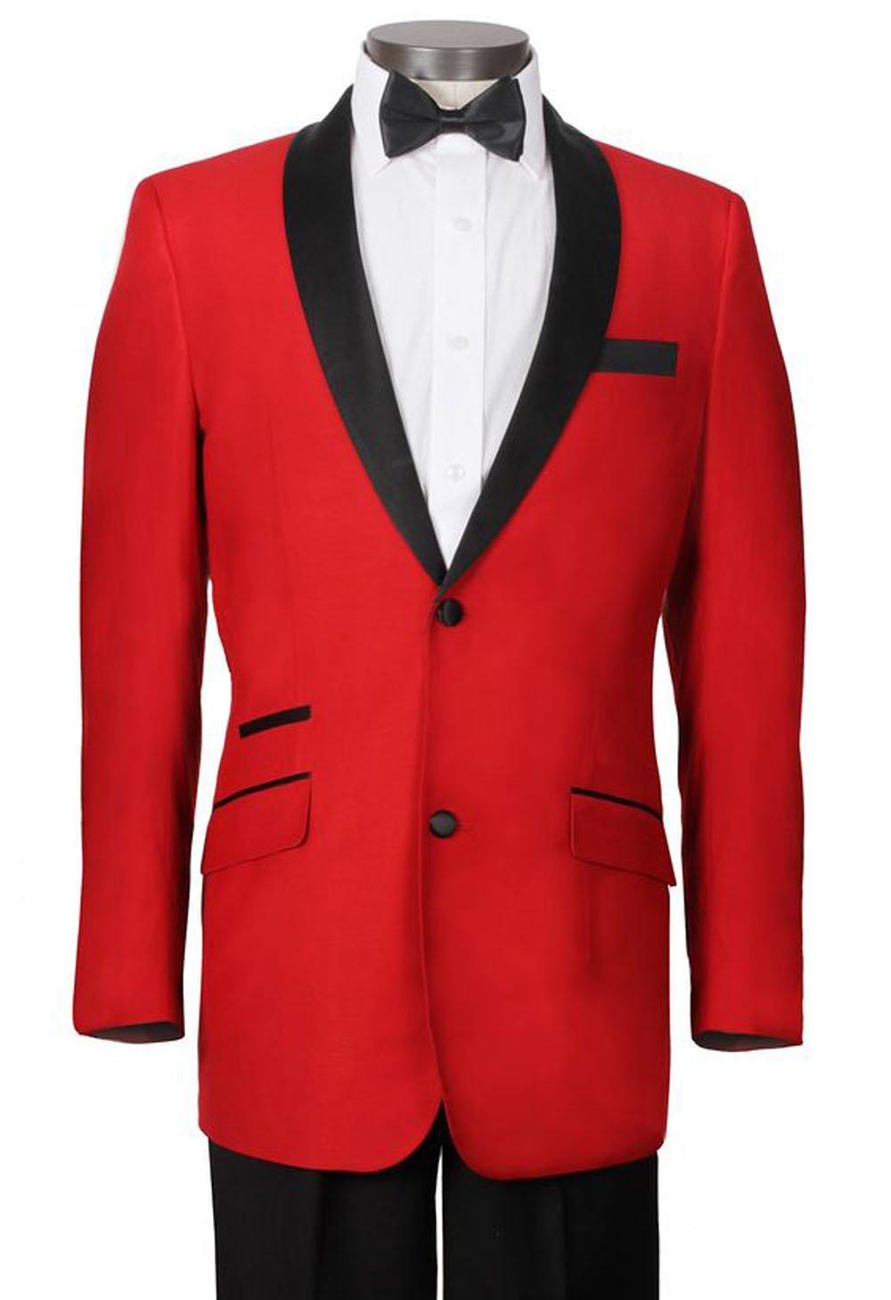 Tailorsun Custom Made Mens Red Tuxedo Shawl Lapel Jacket +Pants +Bow Tie