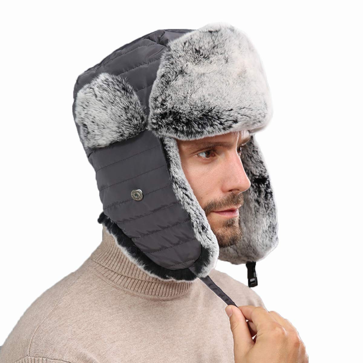 Real Rabbit Fur Bomber Hat for Men and Women with Earmuff Warm Outdoor 3 Sizes (Dark Gray,M)