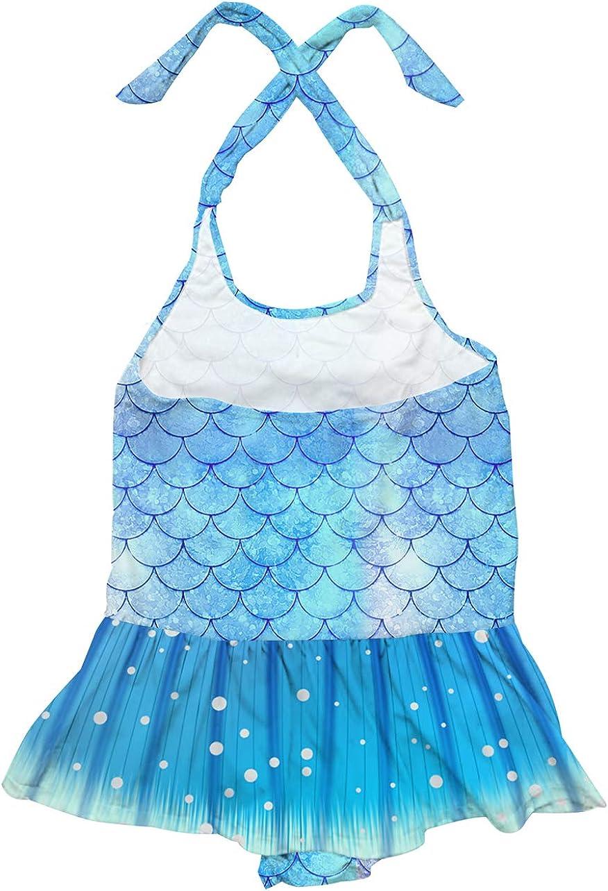 RAISEVERN 1-5 Years Girls One Piece Swimsuit Beach Bathing Suit Mermaid Swimwear with Headband