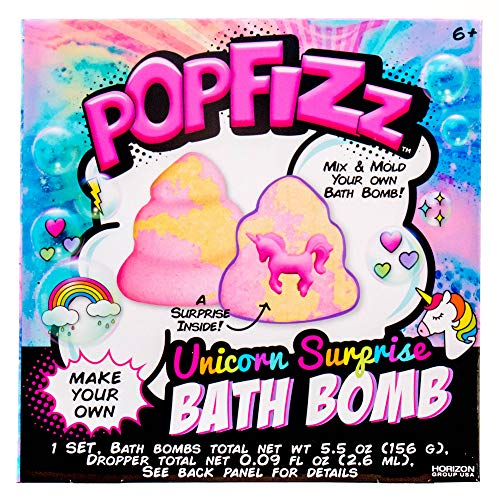 Pop Fizz Make Your Own Fizzing Unicorn Surprise DIY Bath Bomb by Horizon Group Us, Find Your Magical Unicorn Surprise Inside, Essential Oils & Fruity Scents Included, Pink, Yellow& Glitter