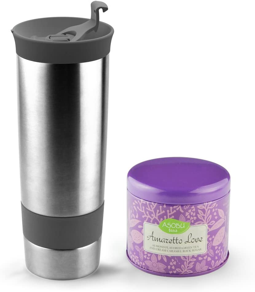 Asobu Hot Press Bottle with Amaretto Love Tea, 16-Ounce, Stainless Steel Smoke