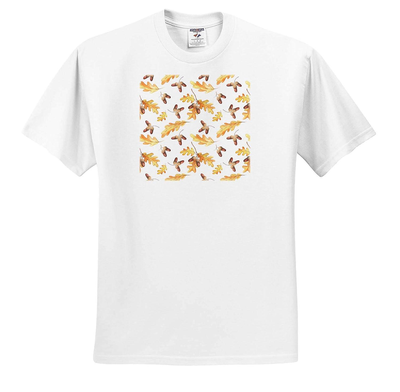 Acorns Against The White Background T-Shirts Elegant Pattern of Oak Leaves 3dRose Alexis Design Pattern Autumn