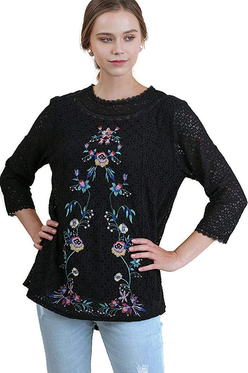 Black Umgee Women's Floral Embroidered & Lace Tunic Top