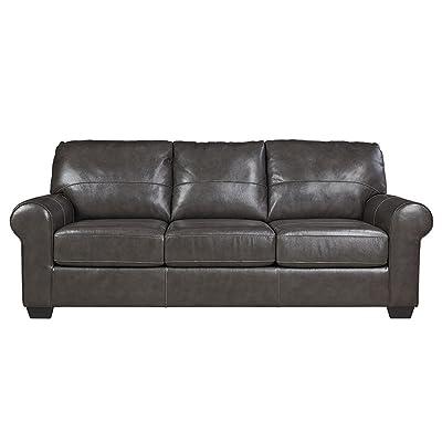 Ashley Furniture Signature Design - Canterelli Contemporary Leather Sofa Sleeper - Queen Size - Gunmetal