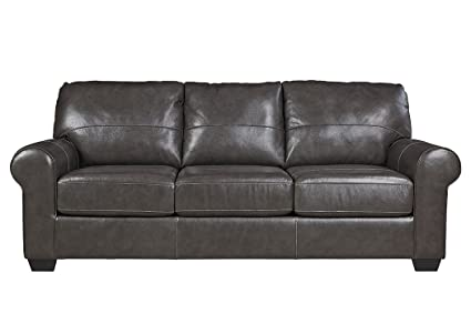 Ashley Furniture Signature Design   Canterelli Contemporary Leather Sofa  Sleeper   Queen Size   Gunmetal