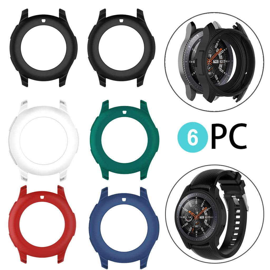 Cywulin Silicone Protection Case for Samsung Galaxy Watch 46mm, Soft TPU Scratch Proof Shockproof All-Around Protective Bumper Shell for Smartwatch SM-R805 SM-R800 Gear S3 Frontier (46mm, 6 Pack) by Cywulin