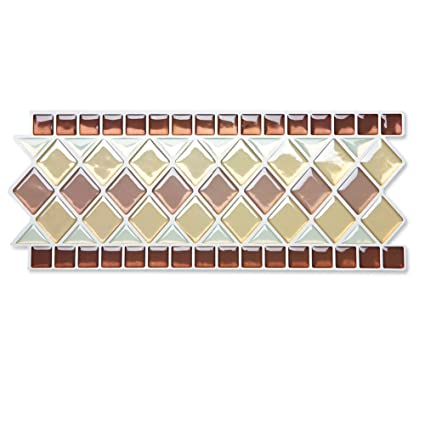 Collections Etc Peel U0026 Stick Backsplash Kitchen Bathroom Wall Tile Borders    Set Of 8,