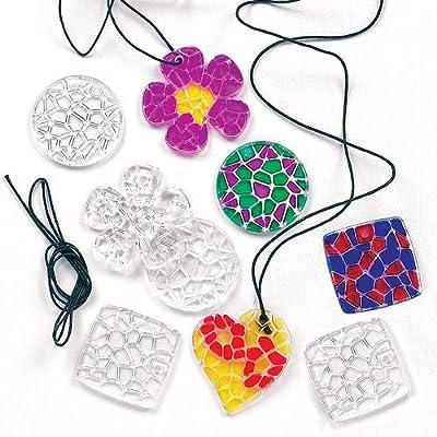 Baker Ross Lot de 12 Pendentifs Mosaïque en Cristal à colorier avec collier - Idéal comme cadeau à offrir
