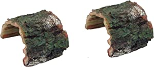 2 Pack Betta Log Resin Hollow Tree Trunk Ornament, Aquarium Hideout Reptile Cave Ornament Terrarium Fish Tank Decoration
