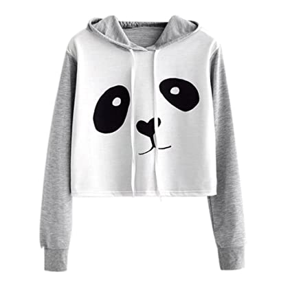 Women Cute Bear Printed Hoodie Sweatshirt Crop Top Ladies Long Sleeve Shirt Jumper Pullover Tops Blouse