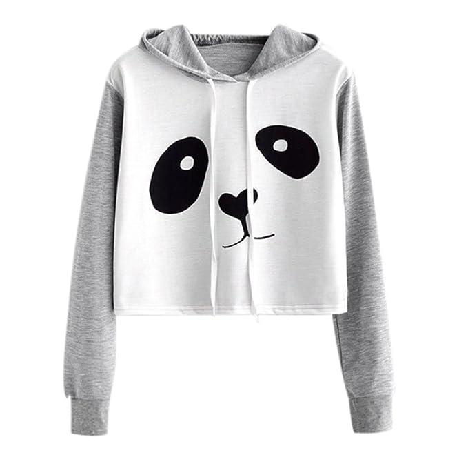 DOGZI Sudadera de Mujer, Venta de liquidación Mujer Dibujos Animados Panda Print Camisa de Entrenamiento Manga Larga Blusa Encapuchado Pull-Over suéter Tops ...