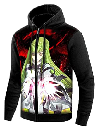 Cosstars Code Geass Anime Sudaderas con Capucha Hoodie Sweatshirt Adulto Cosplay Luminoso Zip Jacket: Amazon.es: Ropa y accesorios