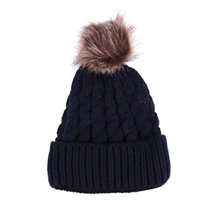 235a8b5be Buy Winter Knit Beanie Bobble Hat Cap with Single Pom Pom Cap for ...