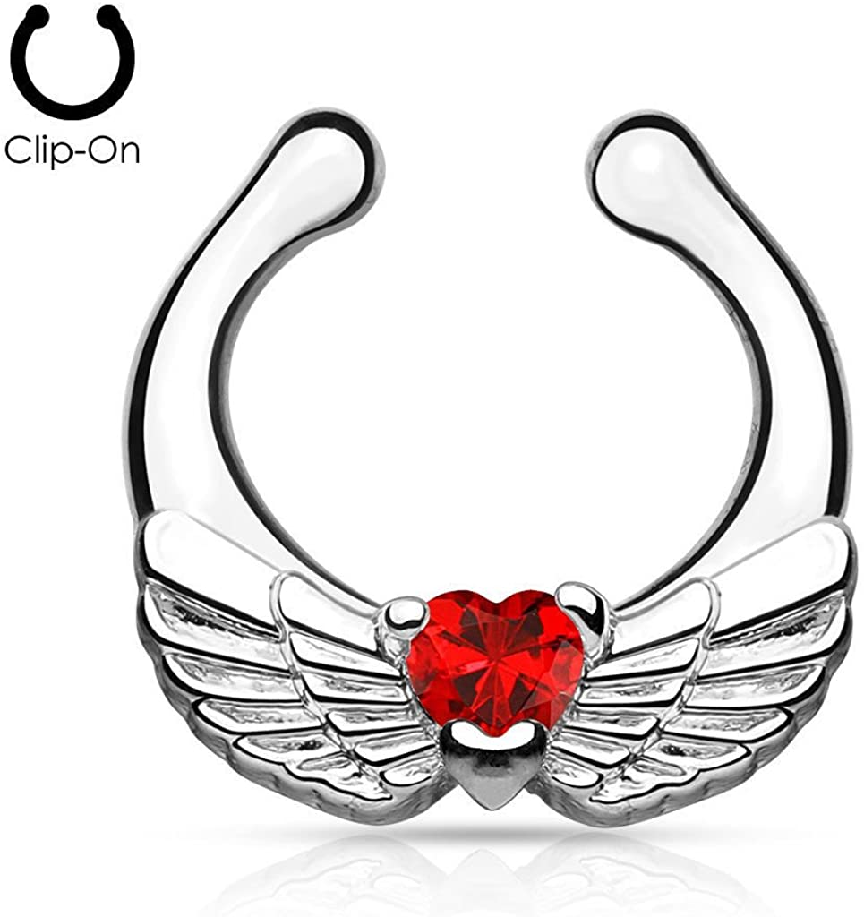 Lobal Domination 1pc Non-Piercing Angel Wings Septum Hanger Clip-On Fake Nose Ring Body Jewelry
