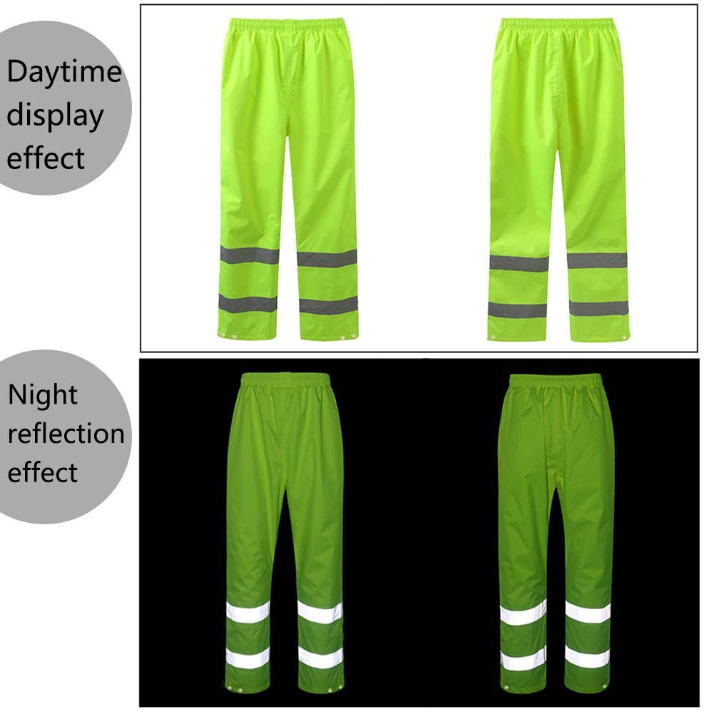 Bulary Reflective Rain Pants Traffic Road Waterproof Thickened Oxford Cloth Fluorescent Yellow Riding Trousers