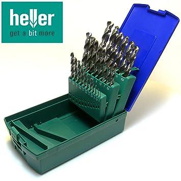 HELLER Metallbohrer Satz HSS G-Super DIN338 RN Spiralbohrer Bohrerset 25 tlg