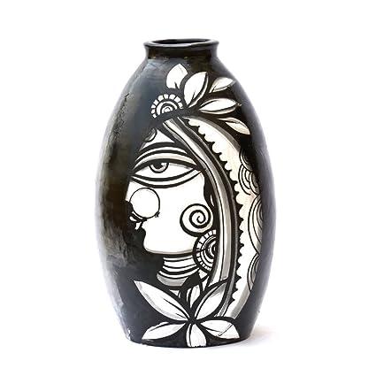 Buy Art Godaam Terracotta Hand Painted Vase 5 Inches X 5 Inchesx 9