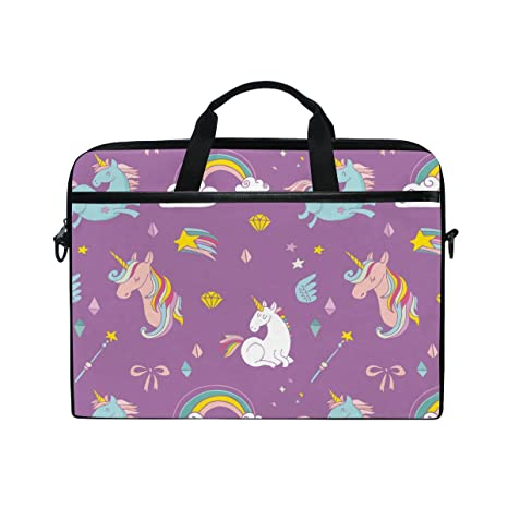 Ahomy - Bolsa para Ordenador portátil de 15 a 15,4 Pulgadas, Lindo Dibujo de Unicornio Arco Iris, Lona de Tela, maletín para portátil con Correa para ...