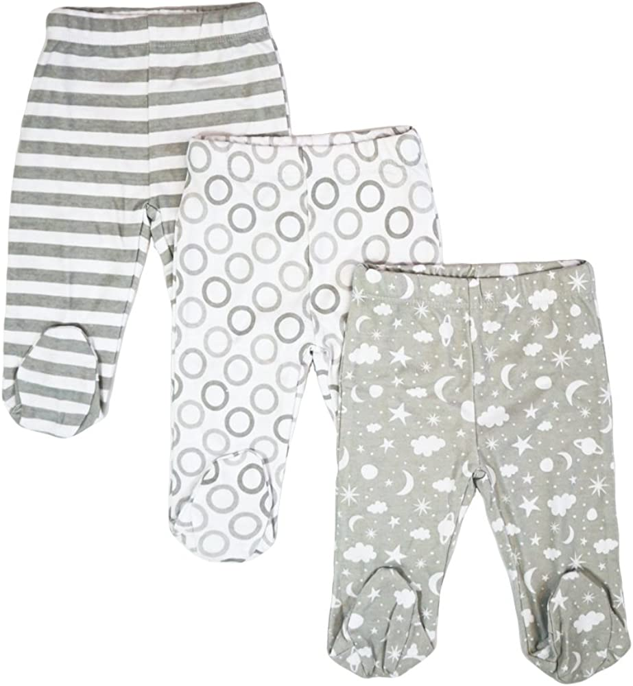 Spasilk Baby Boys' 3 Pack Cotton Pull on Footed Pants