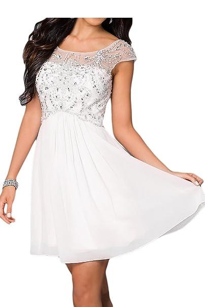 Sunvary a-Line invitados de corto de cóctel vestido boda fiesta con encaje Appliques blanco
