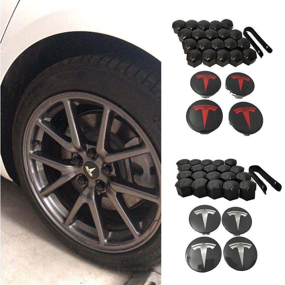 StageOnline For Tesla Model 3 aero wheel cap kit Center Cap Set and Wheel Lug Nut Cover Red