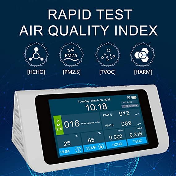 Amazon.com: Air Quality Monitor with LCD Display PM2.5, PM1.0, PM10, TVOC, Formaldehyde Accurate Testing for Home Office White: Arts, Crafts & Sewing