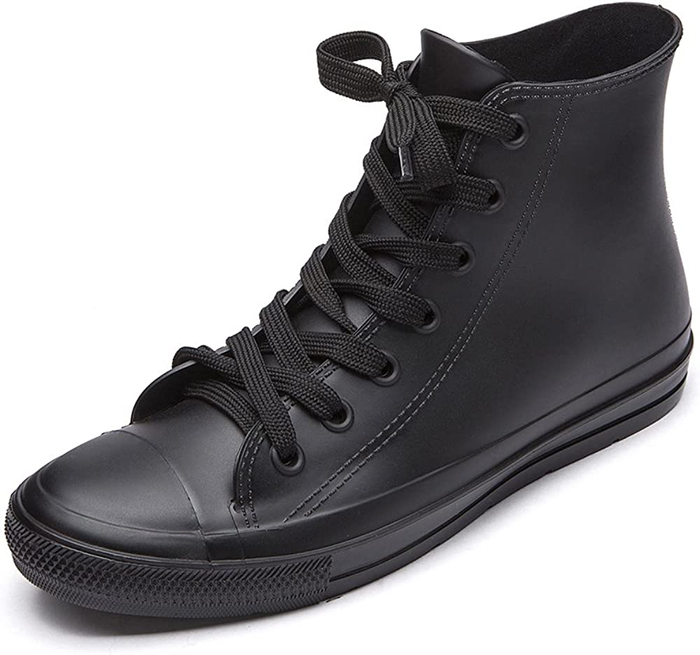 DKSUKO Women's Rain Boots Waterproof High Top Rain Shoes with Lace Up Anti-Slip Garden Shoes