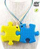 Sensory Chew Necklace PREMIUM STRENGTH (2 pack) for Boys, Girls, Kids and Adults. Great for Severe Chewers! Autism, ADHD, Baby Teething, Silicone Puzzle Autism, Awareness Necklace, Chewlery.