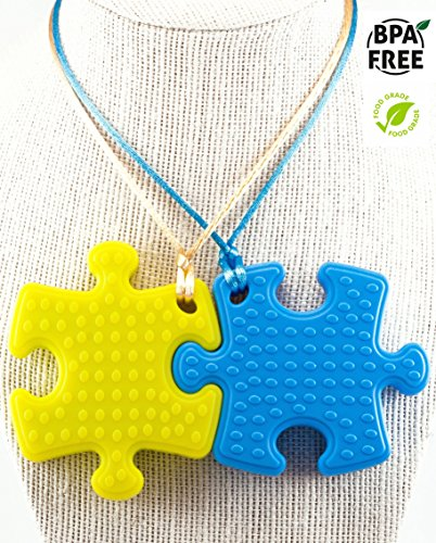 Sensory Chew Necklace Premium Strength (2 Pack) for Boys, Girls, Kids and Adults. Great for Severe Chewers Autism, ADHD, Baby Teething, Silicone Puzzle Autism, Awareness Chewlery Yellow Blue (Moon Clasps Blue)