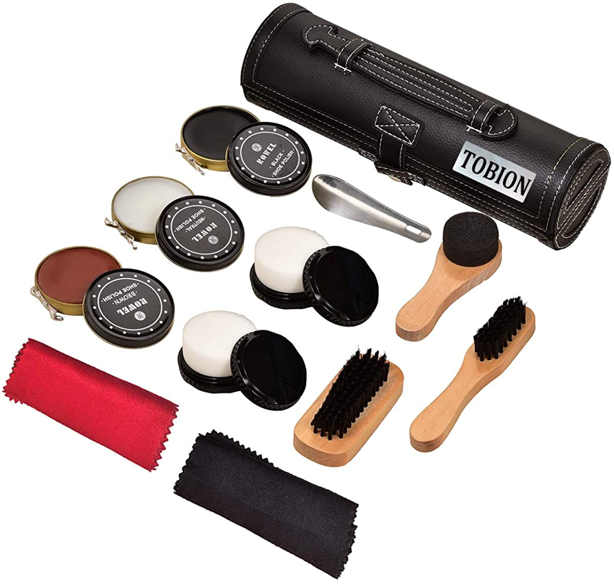 Shoe Shine Brush Kit Shoe Care Kit with PU Leather Sleek Elegant Case