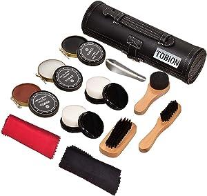 Shoe Shine Brush Kit Shoe Care Kit shoes brushes polishing & Cleaning Kit with PU Leather Sleek Elegant Case(BLACK)