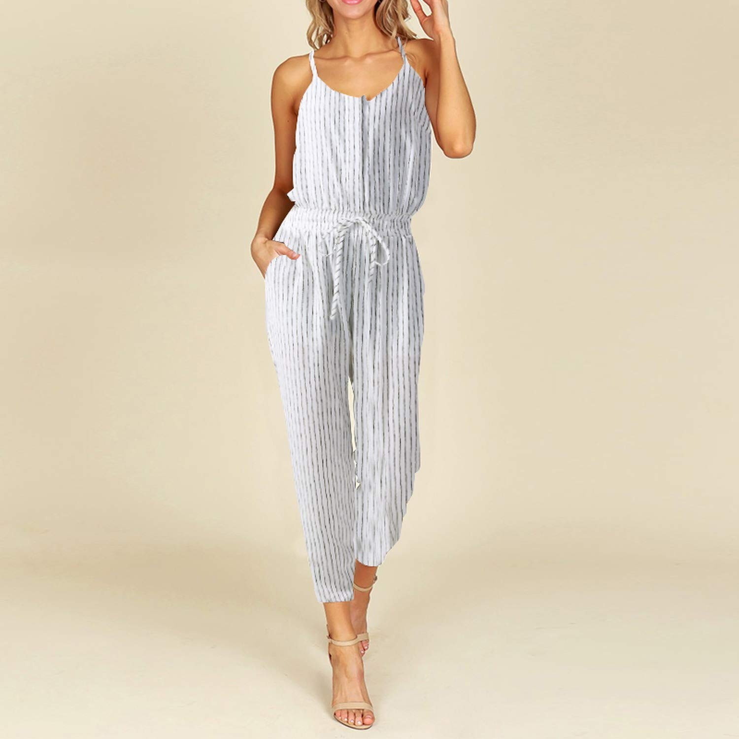 Summer S Women Striped Jumpsuits Casual Sleeveless Elastic Waist Strappy Bodysuits V K Long Playsuits-5Xl