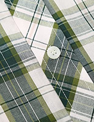 KAIUSI Men's Casual Plaid Short Sleeve Cotton Shirt