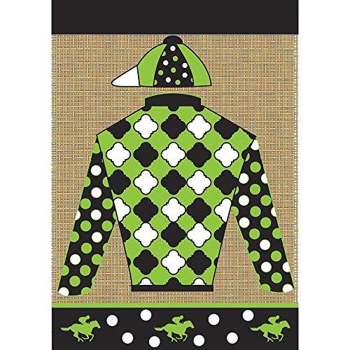 (Magnolia Garden Derby Jockey Silks Black Green Quatrefoil 42 x 29 Rectangular Burlap Double Applique Large House Flag)
