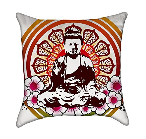 Colorful Buddha Mandala Throw Pillow Cover