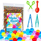 KINFAYV Water Beads - 15OZ 90000 Beads 1 Scoop 2 Tweezer 1 Spoon, Soft Water Jelly Beads Motor Skills Toy Set, Non-Toxic Water Sensory Toy for Orbeez Refill, Tactile Toys, Sensory Toys, Vase Filler