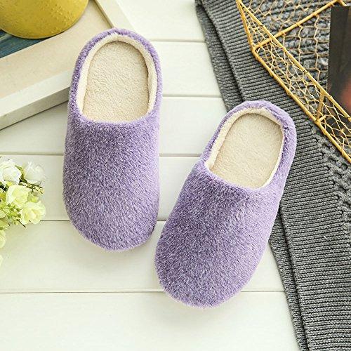 Pantoufles Derapant M37 Chaudes Etosell Violet Hommes Anti Coton Femmes Hiver cB0vZ