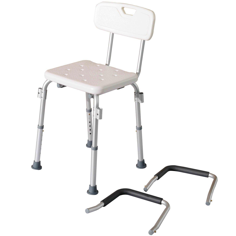 Homcom - Sedile da doccia con schienale e braccioli - Sedile da ...