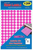 Pack of 4200 3/4'' Round Color Coding Circle Dot Labels, Bright Neon Pink, 8 1/2'' x 11'' Sheet, Fits Any Printer.…
