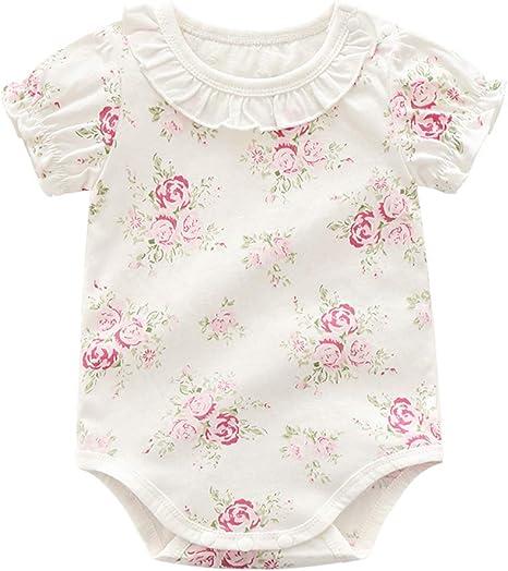 Manga de los bebés mono de algodón Bodies bebé Romper Corto Mono lindo del estampado de flores de 66 cm volante de la solapa de bebé traje blanco: Amazon.es: Bebé