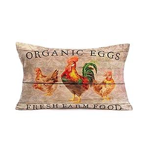 12 X 20 Inches Vintage Wood Grain with Poultry Rooster Decorative Throw Pillow Covers Farmhouse Organic Eggs Fresh Farm Food Cotton Linen Throw WaistLumbar Rectangle Cushion Covers Home Sofa Decor(R)