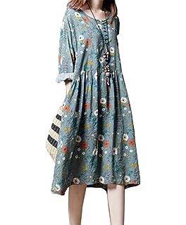 dd985715336b イン二ファー)Innifer レディース 綿 ワンピース ドレス 花柄 満開式 フレアワンピース