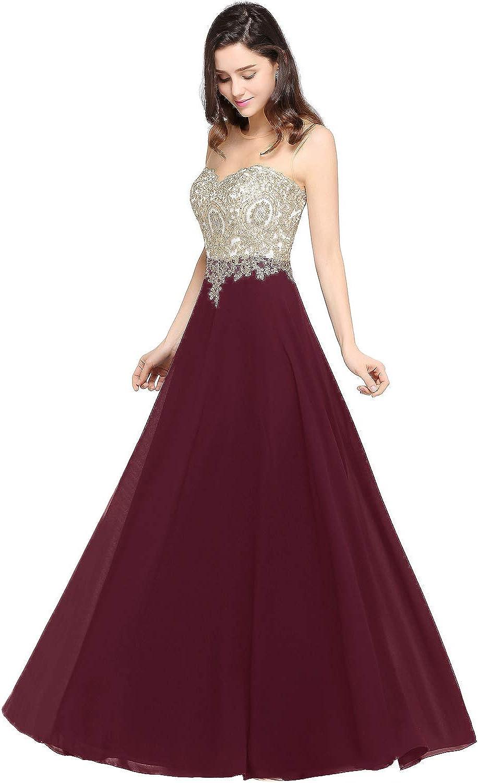 MisShow Damen Elegant Chiffon A-Linie Lang Abendkleider ...