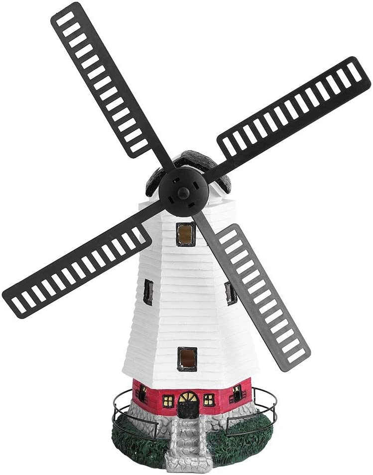 Keenso Lighthouse Decor, LED Solar Powered Garden Lighthouse with Windmill Tower Lamp Outdoor Decorative Lights for Garden Patio Lawn