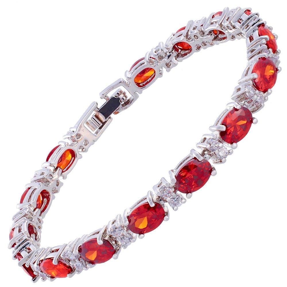 RIZILIA Oval Cut Multi-Color CZ Birthstone 18K White Gold Plated Tennis Bracelet, 7 7 LB1055BLA