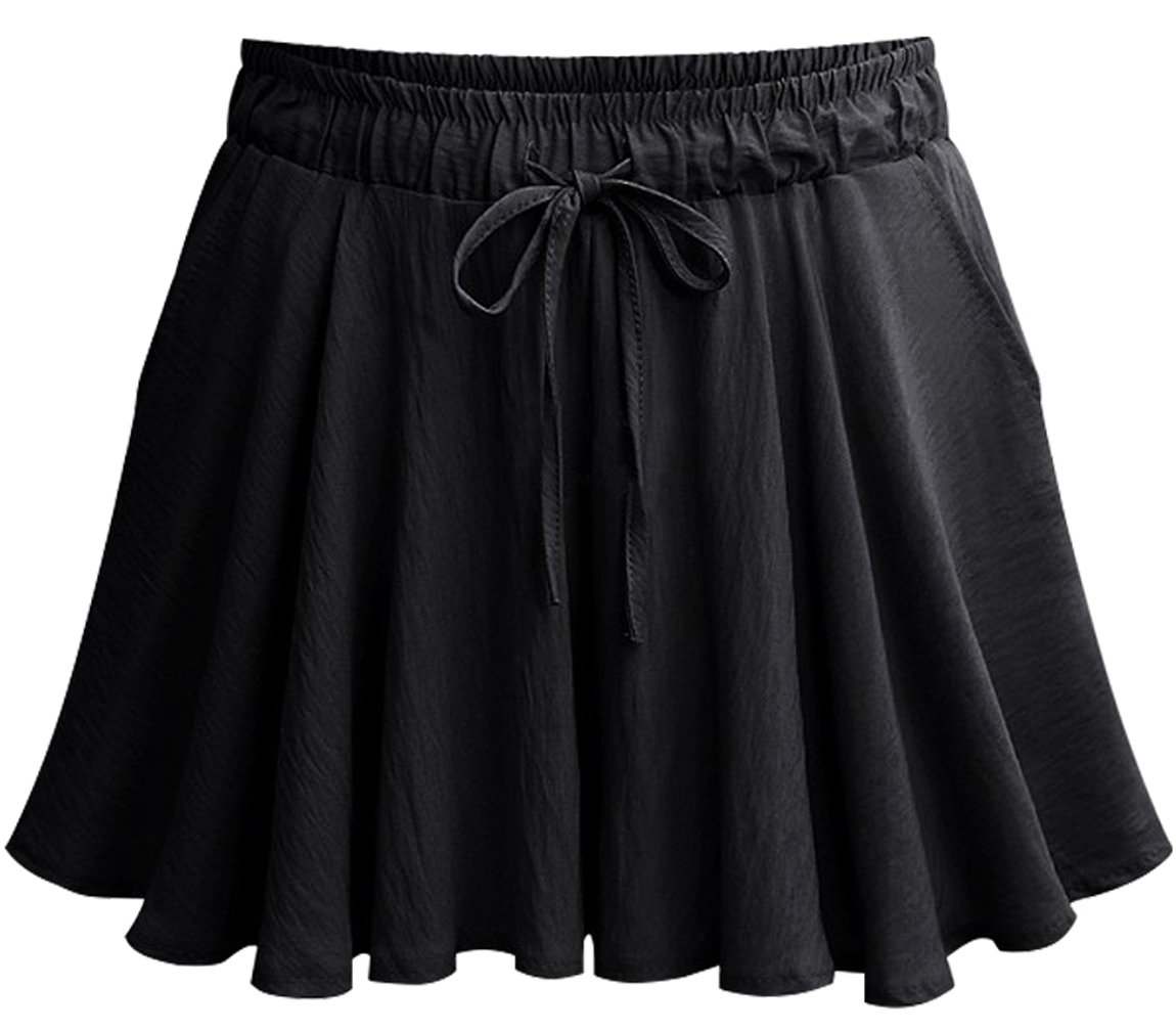 HOW'ON Womens Summer Elastic Waist A Line Wide Leg Culottes Shorts with Drawstring Black S