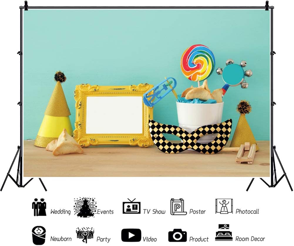 OERJU 12x8ft Happy Purim Backdrop Yellow and Black Mask Wood Plank Blue Photography Background Jewish Carnival Holiday Decorations Purim Celebration Banner Kids Adults Holiday Portrait Photo Props