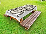 All Products : Day Of The Dead Outdoor Tablecloth by Ambesonne, Spanish Sugar Skull with Roses Dragonfly Eyes Feather and Earrings Artwork, Decorative Washable Picnic Table Cloth, 58 X 84 Inches, Grey Ivory