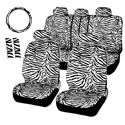 Striped Car Seat Cover - TooCust Fashion Zebra Fuzzy Striped Car Seat Cover Universal Fit for Truck SUV or Van,12PCS